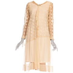 1920S  Beige Cotton Embroidered Tulle & Lace Flapper Era Tea Dress With Sleeves