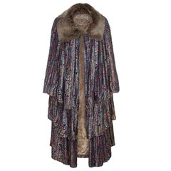 1920s Lame Tiered Opera Cape with Fur Collar