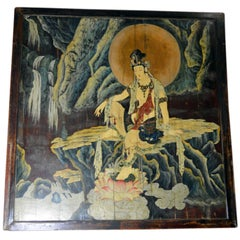 1920s Large Chinese Two-Sided Painted Elm Screen Depicting Guanyin and Zhong Kui