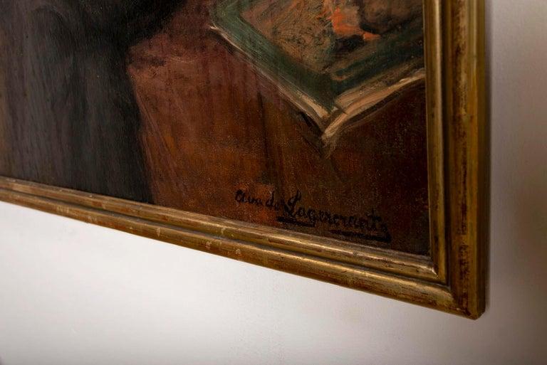 Art Deco 1920s Large Framed Oil on Canvas of Hans Alin by Ava de Lagercrantz For Sale