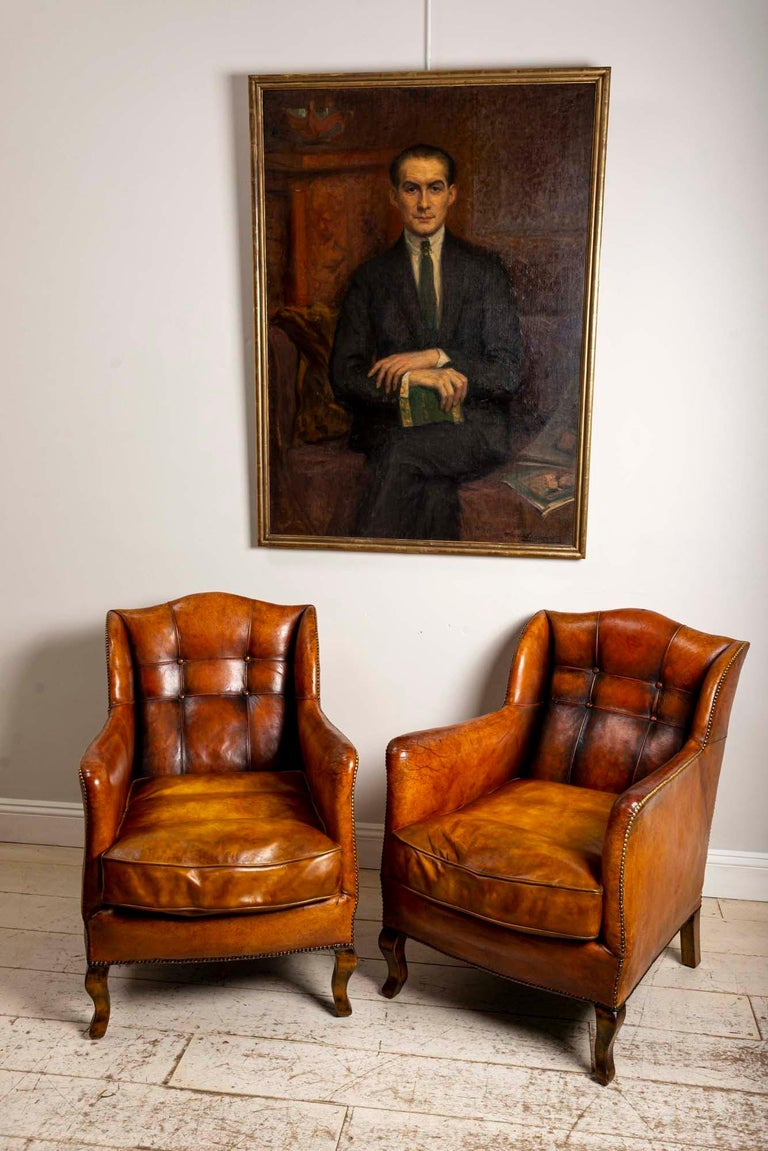 Swedish 1920s Large Framed Oil on Canvas of Hans Alin by Ava de Lagercrantz For Sale