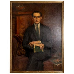 1920s Large Framed Oil on Canvas of Hans Alin by Ava de Lagercrantz
