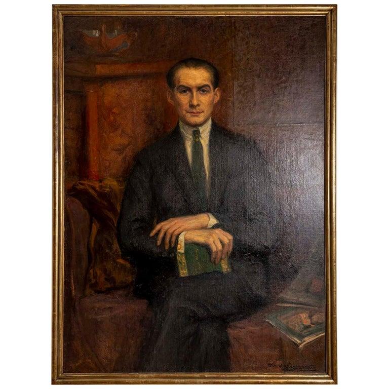 1920s Large Framed Oil on Canvas of Hans Alin by Ava de Lagercrantz For Sale