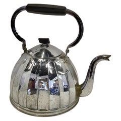 1920s Large French or Belge Stove Top Chrome Water Kettle