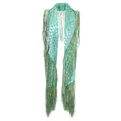 1920s Large Green and Silver Burn Out Panne Silk Velvet Tassled Shawl