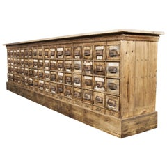 1920s Large Low Pine Hardware Shop Bank of Drawers, Sixty Eight Drawers