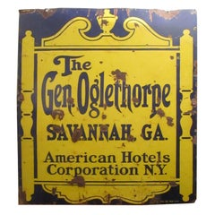 1920's Large Tin Double Sided Advertising Sign from Oglethorpe Hotel Savannah GA