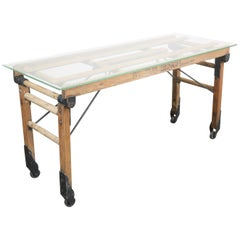 1920s Laundry Trolley Converted to an Occasional/Console/Side/Coffee Table with