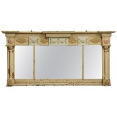 1920s Light Colored Ornate Over Mantel Mirror