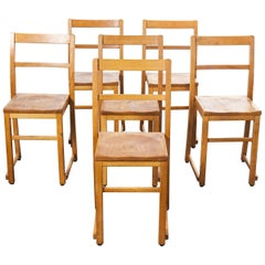 1920s Light Elm Chapel, Stacking Dining Chairs, Set of Six