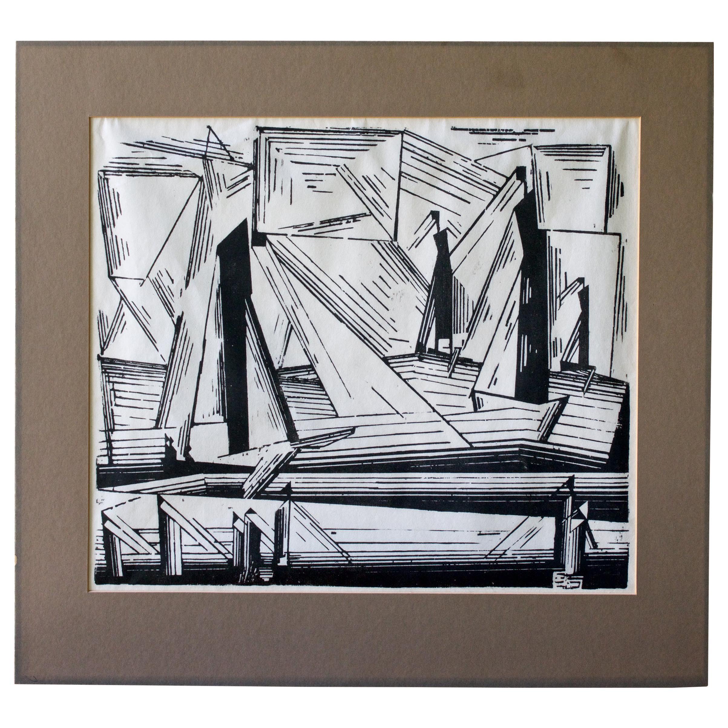 1920s Lyonel Feininger Woodcut Art Deco Cityscape Abstract Futurist Cubist Print