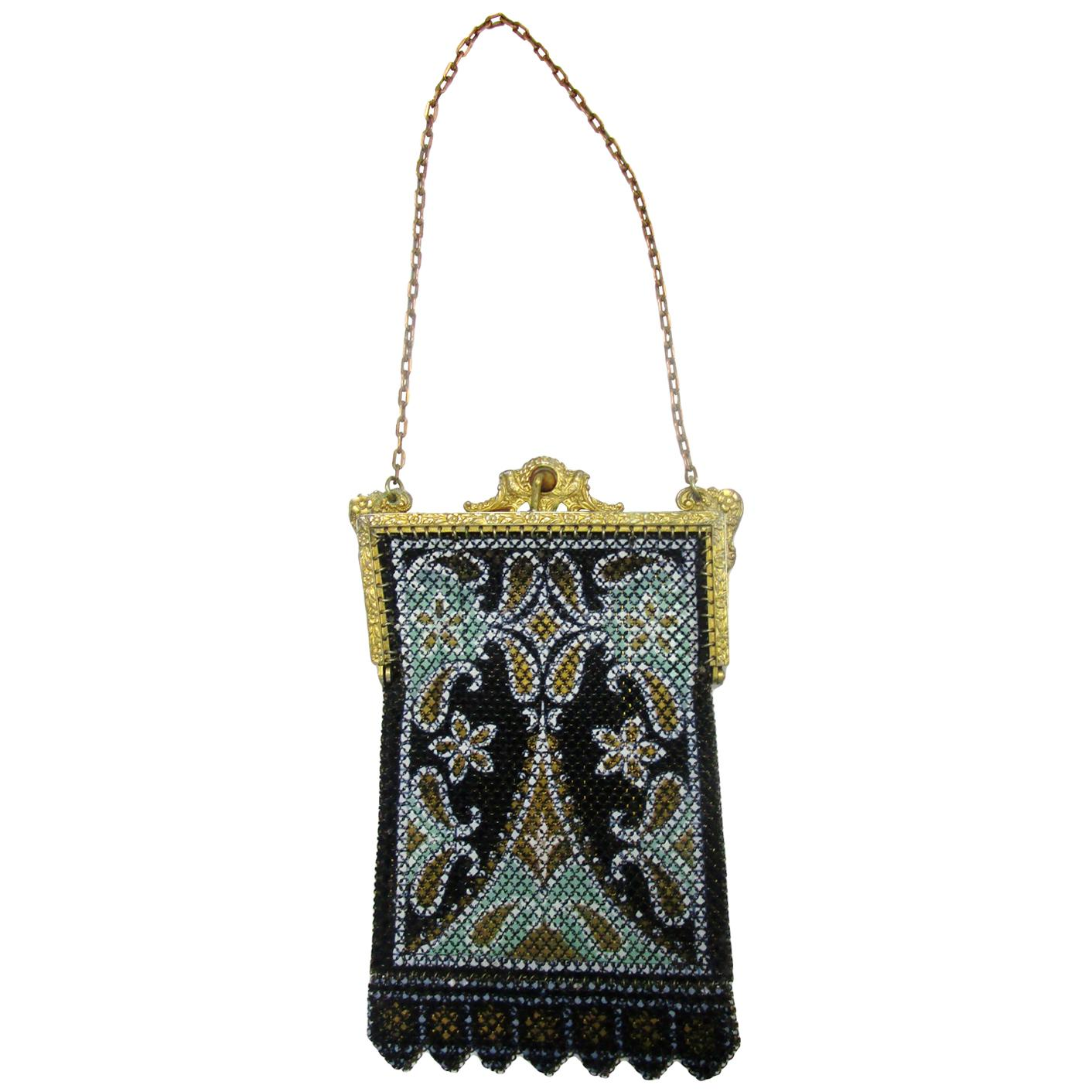 1920s Mandalian Mfg. Company  Black Painted Mesh Bag