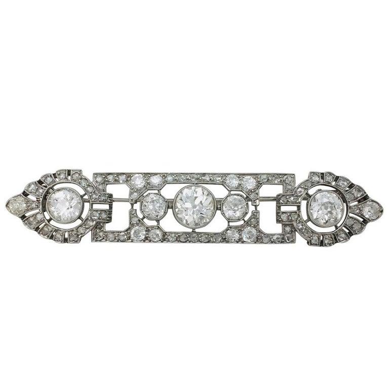 1920s Mauboussin Art Deco Diamond Platinum Brooch For Sale