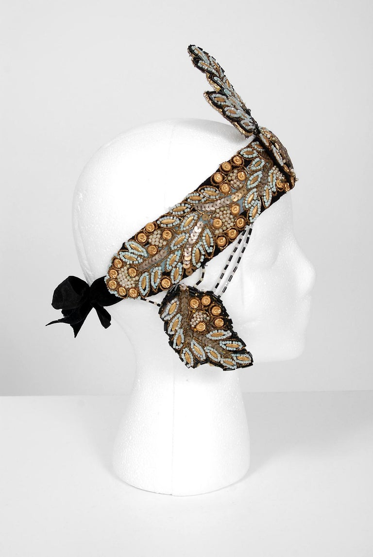 Gray 1920's Metallic-Gold Leaf Motif Beaded Sequin Flapper Fringe Crown Headpiece  For Sale