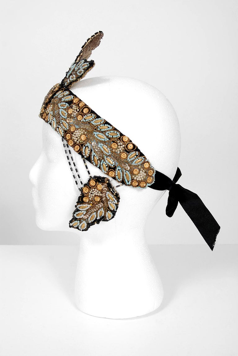 1920's Metallic-Gold Leaf Motif Beaded Sequin Flapper Fringe Crown Headpiece  In Good Condition For Sale In Beverly Hills, CA