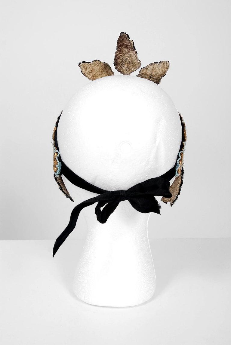 Women's or Men's 1920's Metallic-Gold Leaf Motif Beaded Sequin Flapper Fringe Crown Headpiece  For Sale