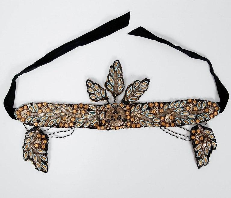 1920's Metallic-Gold Leaf Motif Beaded Sequin Flapper Fringe Crown Headpiece  For Sale 2