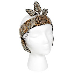1920's Metallic-Gold Leaf Motif Beaded Sequin Flapper Fringe Crown Headpiece