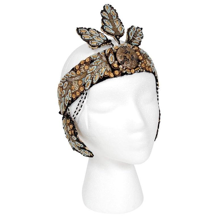 1920's Metallic-Gold Leaf Motif Beaded Sequin Flapper Fringe Crown Headpiece  For Sale