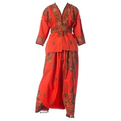 1920S Brick Red Metallic Hand Embroidered Cotton & Silk Kimono Robe And Harem P