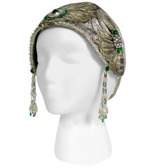1920's Metallic Silver Lamé Beaded Green Jeweled Deco Flapper Crown Headpiece