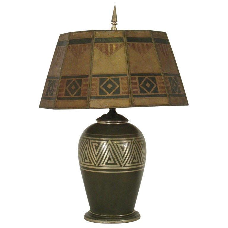 1920s Mica Shade Table Lamp By L Autum For Sale At 1stdibs