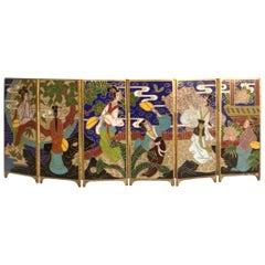 1920s Miniature Brass Painted Enamel Folding Screen