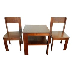 1920s Modernist Bedroom Set of Table and Chairs for L.O.V. Oosterbeek