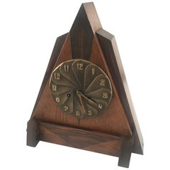 1920s Modernist Design Art Deco Oak, Coromandel and Bronze Mantle or Desk Clock