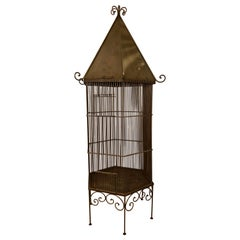 1920s Monumental Metal Bird Cage