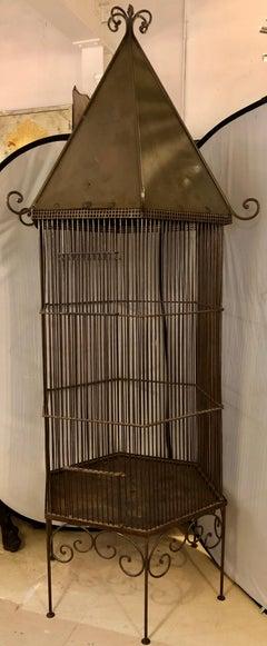1920s Monumental Metal Bird Cage