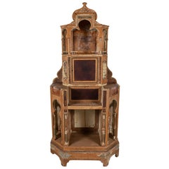 1920s Moorish Hand Carved Oak and Leather Cabinet