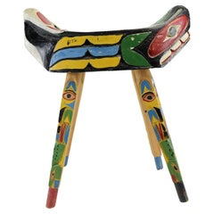 "1920s Native Ditidaht Totem ""Wishing Stool"" by Sam Williams"