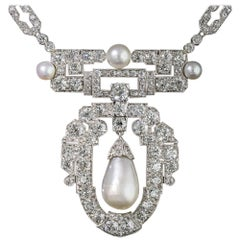 1920s Natural Pearl, Platinum and Diamond Necklace