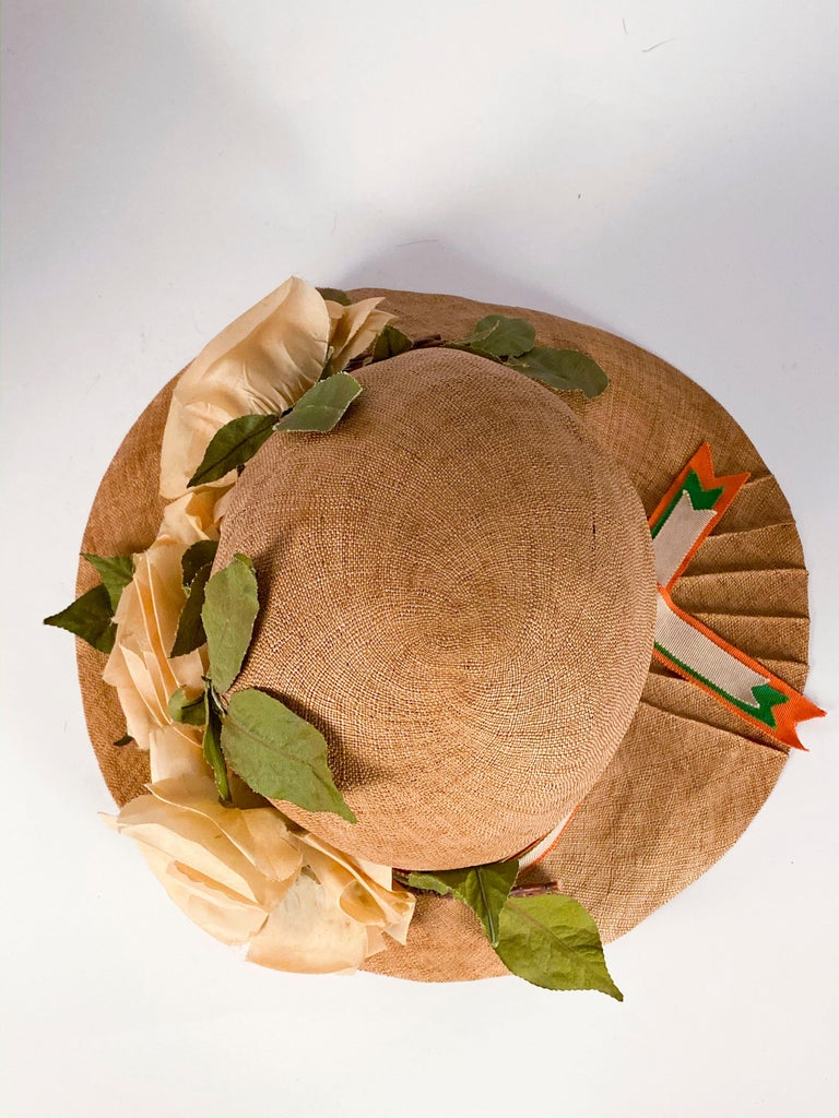 1920s Natural Straw Day Cloche With Silk Flowers For Sale 1
