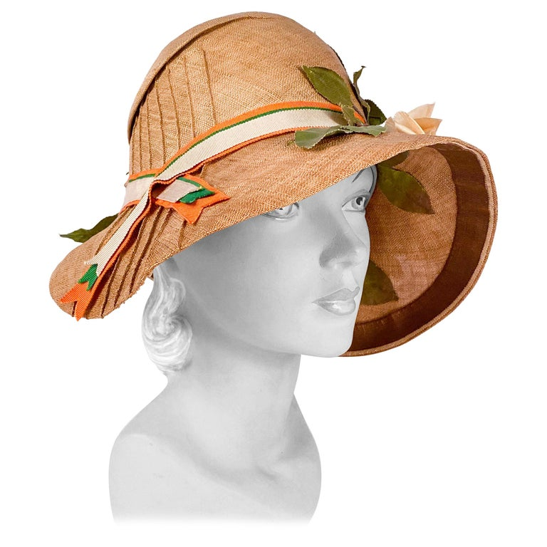 1920s Natural Straw Day Cloche With Silk Flowers For Sale