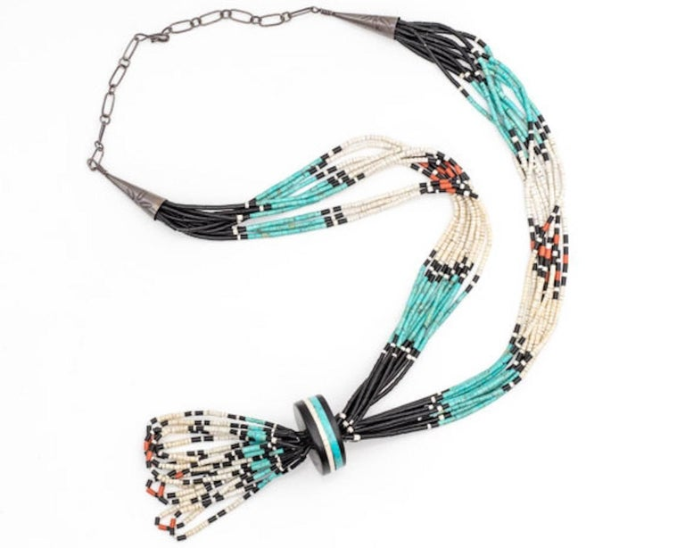 navajo bead designs. Perfect Navajo Sterling Silver Turquoise Onyx Coral Necklace This 34 Inch Long Necklace  Features Natural Intended Navajo Bead Designs