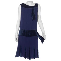 1920S Navy Blue Silk & Velvet Pintucked Drop Waist Day Dress
