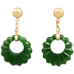 1920s Nephrite Jade and Yellow Gold Drop Earrings