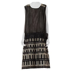 1920s Net Art Deco Embroidered Net Dropwaist Sleeveless Dress