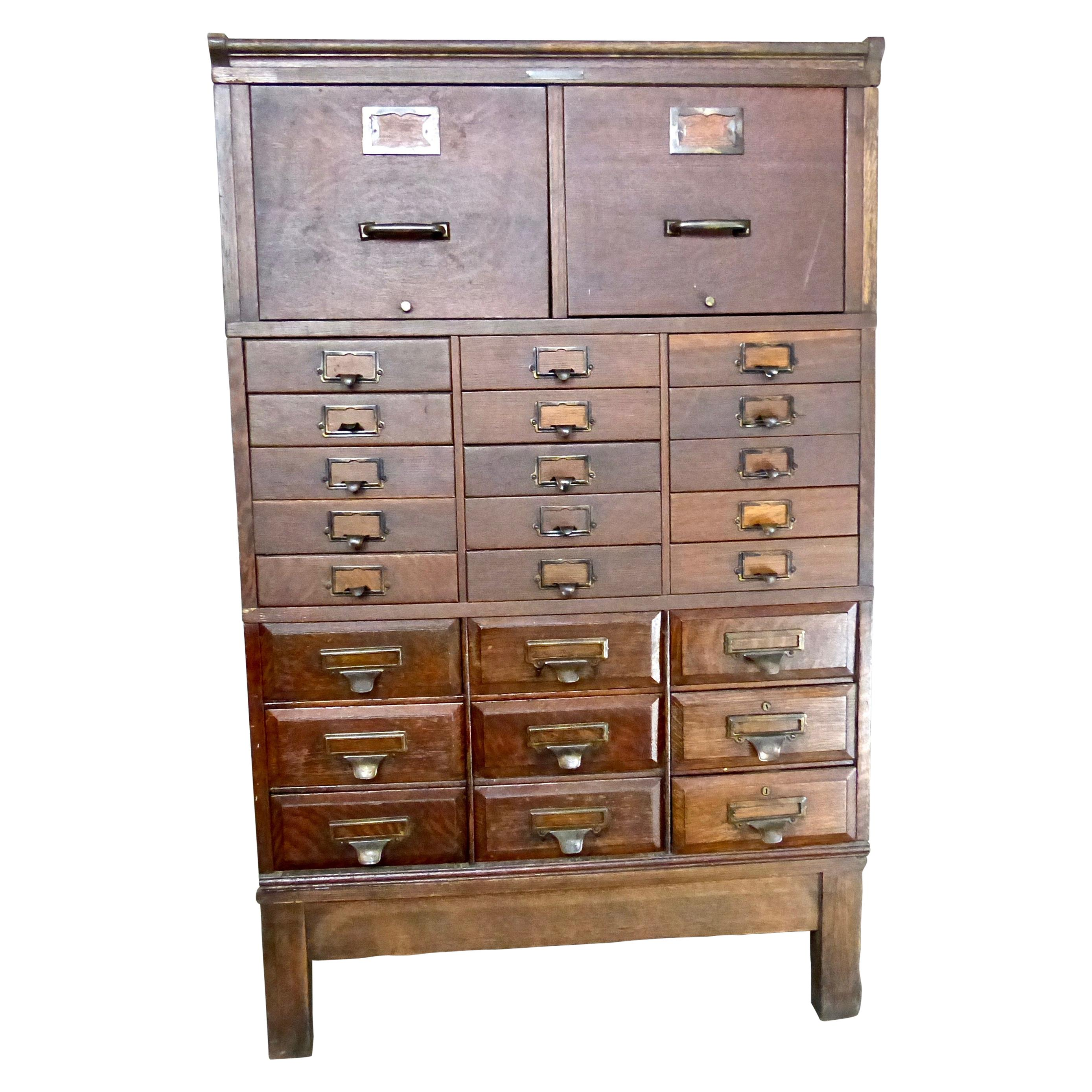 1920s Oak Apothecary Cabinet The Office Specialty Co  Newmarket Ontario