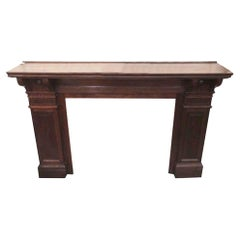 1920s Oak Mantel with Dark Stain and Bulls Eye Details from W. 85th St Manhattan