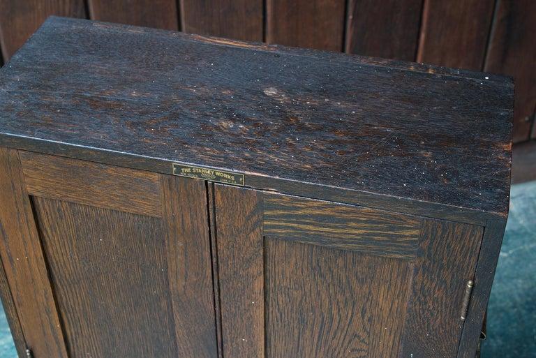 1920s Oak Stanley Tools Wall Cabinet Box Vintage Industrial Porsche Garage Chest For Sale 4