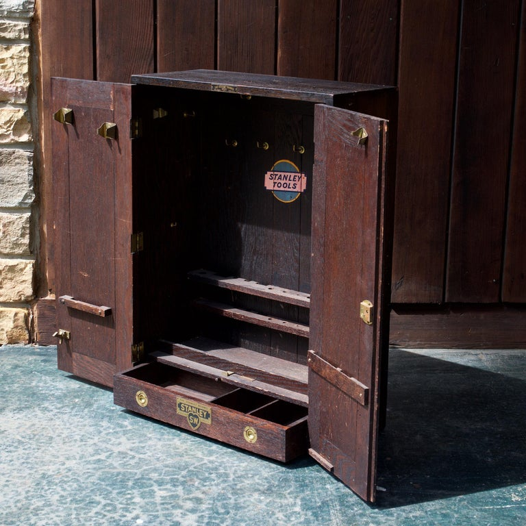 Stanley tools upright/tabletop or wall mount/hanging toolbox, brass handles on sides. Never hung, and appears to never be used at all.