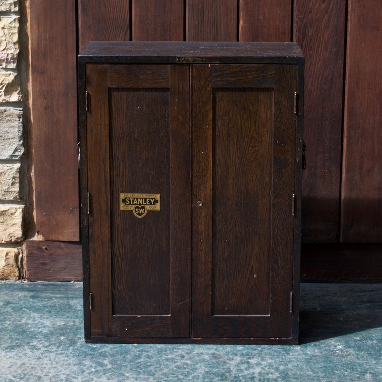Stained 1920s Oak Stanley Tools Wall Cabinet Box Vintage Industrial Porsche Garage Chest For Sale