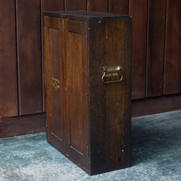 1920s Oak Stanley Tools Wall Cabinet Box Vintage Industrial Porsche Garage Chest In Good Condition For Sale In Washington, DC