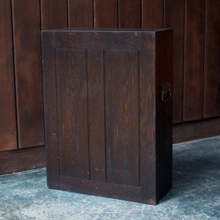 Early 20th Century 1920s Oak Stanley Tools Wall Cabinet Box Vintage Industrial Porsche Garage Chest For Sale