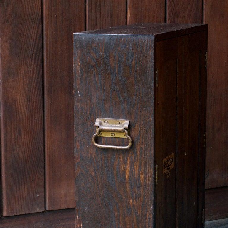 1920s Oak Stanley Tools Wall Cabinet Box Vintage Industrial Porsche Garage Chest For Sale 1
