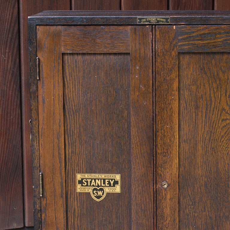 1920s Oak Stanley Tools Wall Cabinet Box Vintage Industrial Porsche Garage Chest For Sale 2