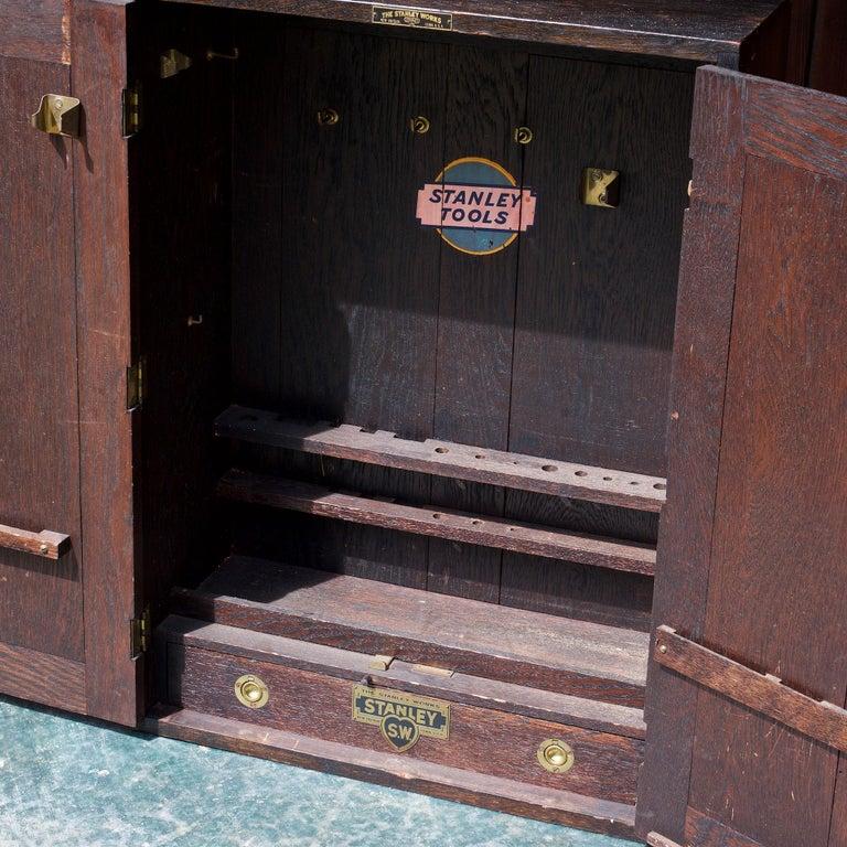 1920s Oak Stanley Tools Wall Cabinet Box Vintage Industrial Porsche Garage Chest For Sale 3